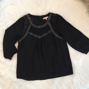 Skies are Blue Medium Black Top w/ Lace Accents